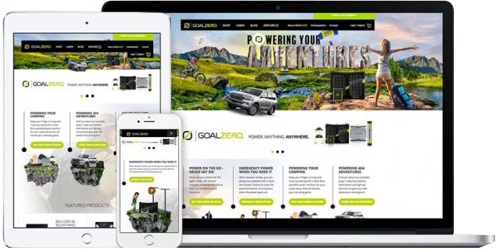 Goal Zero Website Design Displayed on a Computer Monitor, Table and Mobile Smartphone