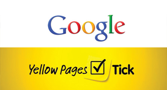 Google and Yellow pages logo images.
