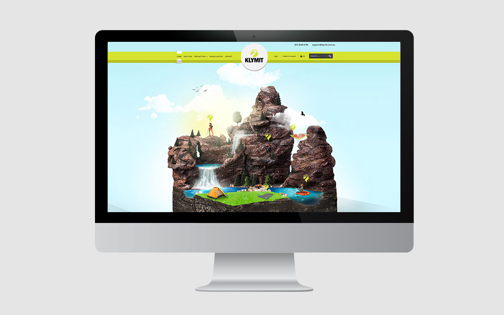 Klymit Website Design Displayed on a Mac Monitor