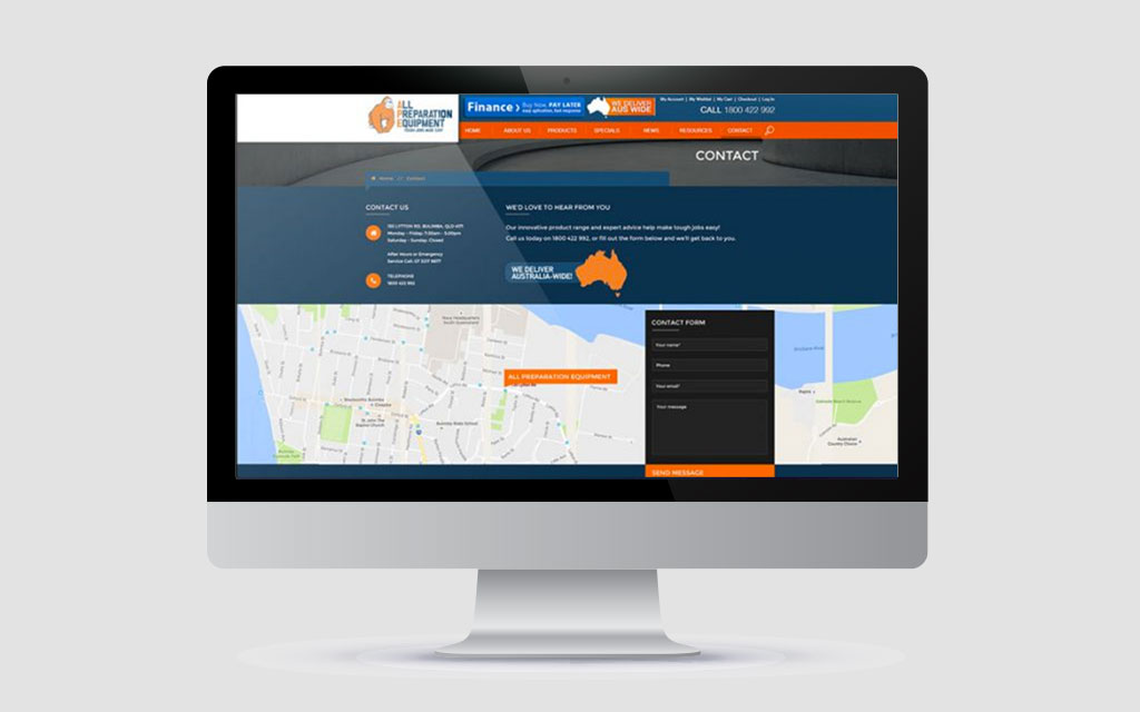 contact us form on website design brisbane