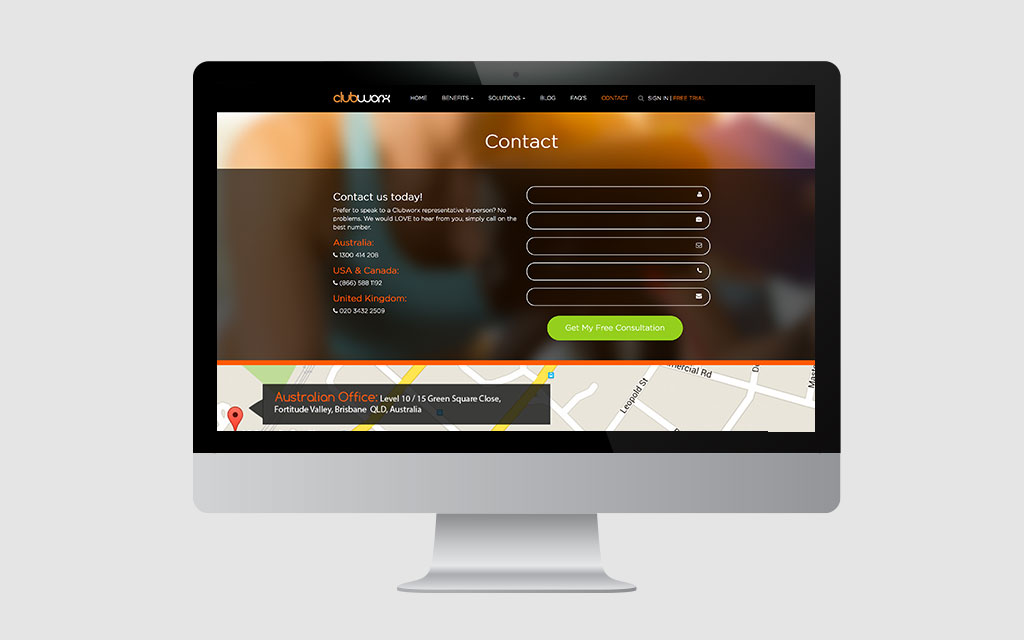 clubworx contact page displayed on imac | website design brisbane