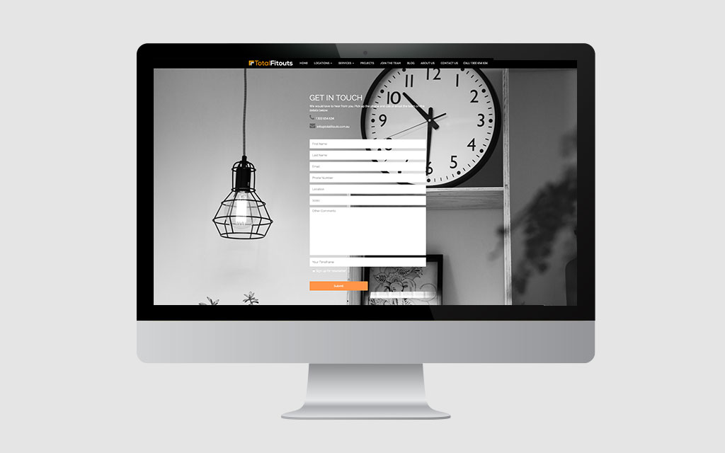 total fitouts contact page on imac | professional web design brisbane