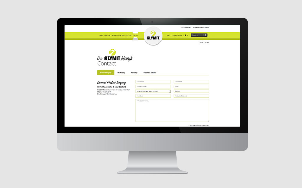 imac displaying klymit contact form | professional web design brisbane