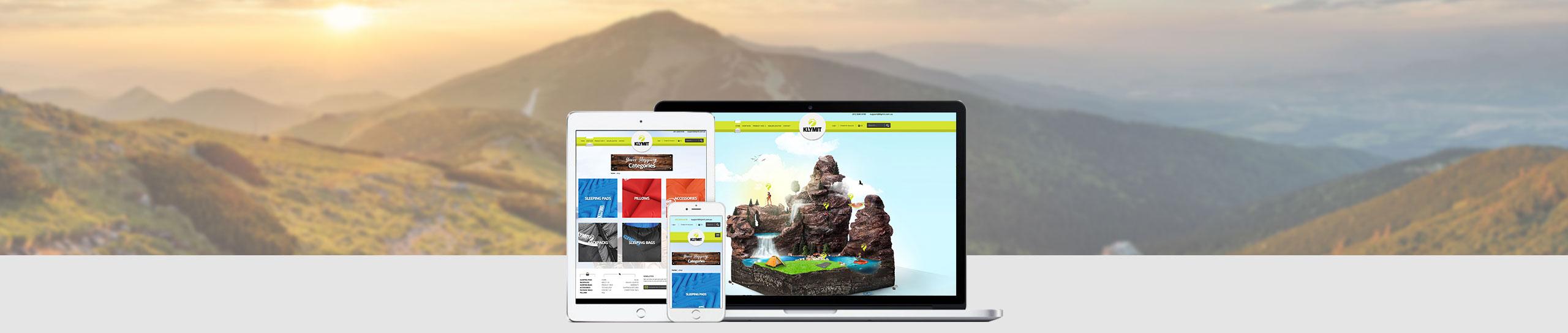Klymit website displayed on multiple devices on mountain backdrop | website design brisbane