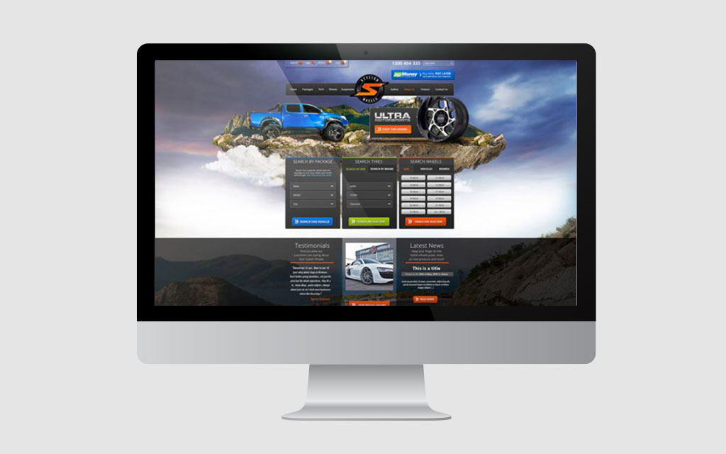 Stylish Wheels website design displayed on a Mac monitor