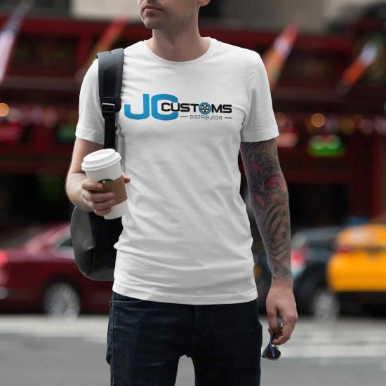 JC Customs Logo Design on a T-Shirt