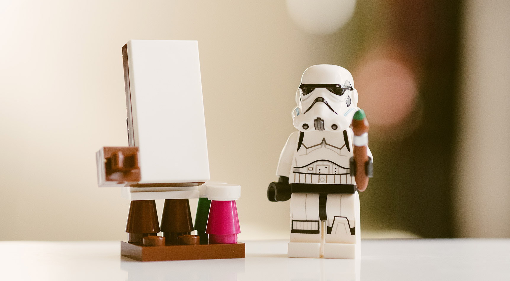 Storm trooper painting on an easel | graphic designer brisbane